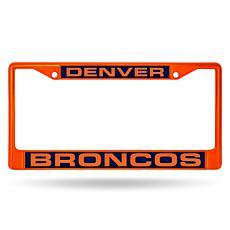 NFL Orange Laser-Cut Chrome License Plate Frame - Broncos