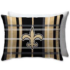 """NFL Plush Plaid Sherpa 20"""" x 26"""" Bed Pillow - New Orleans Saints"""