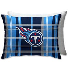 """NFL Plush Plaid Sherpa 20"""" x 26"""" Bed Pillow - Tennessee Titans"""