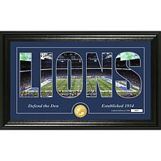 NFL Silhouette Panoramic Bronze Coin Photo Mint - Detroit Lions