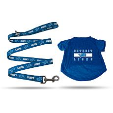 NFL Small Pet T-Shirt with 4' Leash - Lions