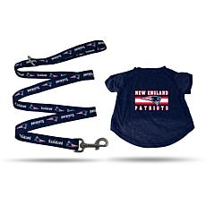 NFL Small Pet T-Shirt with 4' Leash - Patriots