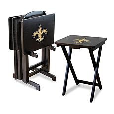 NFL Team Logo Set of 4 TV Trays with Stand - Saints