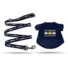 NFL X-Large Pet T-Shirt with 6' Leash - Chargers