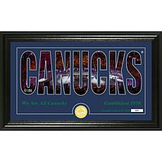 NHL Silhouette Panoramic Bronze Coin Photo Mint - Vancouver Canucks