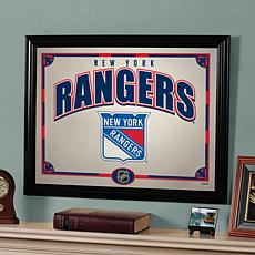 NHL Team 23 x 18 Framed Mirror - New York Rangers