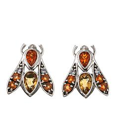 Nicky Butler 3.3ctw Orange Topaz and Multigemstone Bee Earrings