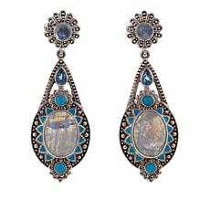 Nicky Butler .40ctw Moonstone and Multigemstone Bulb Drop Earrings
