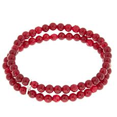 "Nicky Butler 4mm Gemstone Bead Double Row 5-3/4"" Stretch Bracelet"