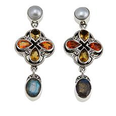 Nicky Butler 5.2ctw Multigemstone Sterling Silver Drop Earrings