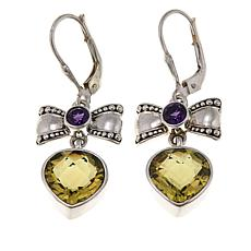 Nicky Butler 6.2ctw Lemon Quartz and Gem Bow and Heart Drop Earrings