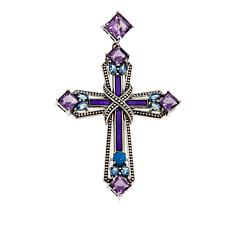 Nicky Butler 7.66ctw Amethyst and Multigemstone Cross Pendant