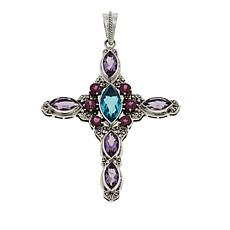 Nicky Butler 8.55ctw Aqua Quartz Triplet and Multigem Cross Pendant