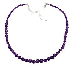 "Nicky Butler Amethyst Bead Sterling Silver Graduated 17"" Necklace"