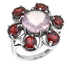 Nicky Butler Garnet and Rose Quartz Flower Ring