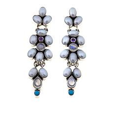 Nicky Butler Moonstone and Multigem Dangle Earrings