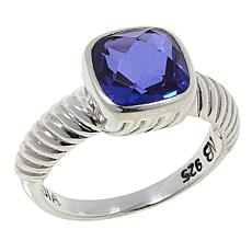 Nicky Butler Purple Quartz Triplet Cushion Solitaire Ribbed Ring