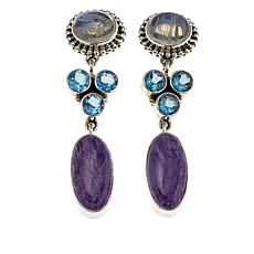 Nicky Butler Raj 3ctw Charoite and Multigemstone Drop Earrings