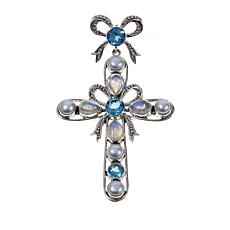 Nicky Butler Sky Blue Topaz and Gem Bow Pendant