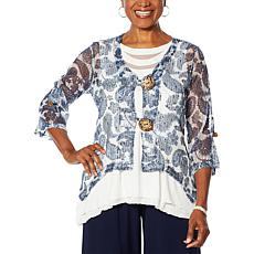 Nina Leonard 3/4-Sleeve Coconut Button Novelty Cardigan