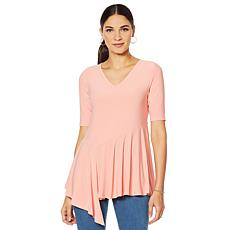 Nina Leonard Asymmetric V-Neck Top