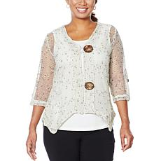 Nina Leonard Coconut Button Bolero with Tank