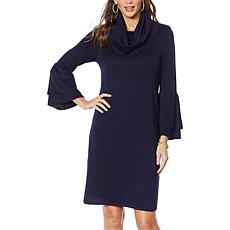Nina Leonard Cowl-Neck Float Sweater Dress