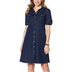 Nina Leonard Denim Button-Up Flare Dress