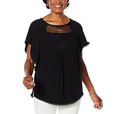 Nina Leonard Flutter-Sleeve Top with Crochet Trim
