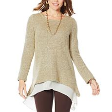 Nina Leonard Hi-Low Novelty Knit Sweater with Chiffon Hem