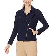 Nina Leonard High Tech Crepe Front-Zip Moto Jacket