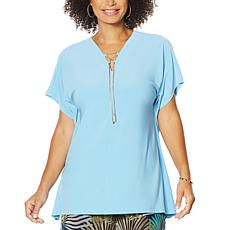 Nina Leonard Lace-Up V-neck Tunic