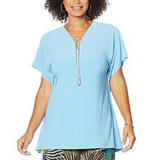 Nina Leonard Lace-Up V-neck Tunic