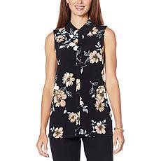 Nina Leonard Miracle Matte Jersey Button-Up Sleeveless Shirt