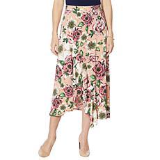 Nina Leonard Miracle Matte Jersey Printed Midi Skirt