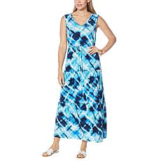 Nina Leonard Miracle Matte Jersey Tiered Maxi Dress