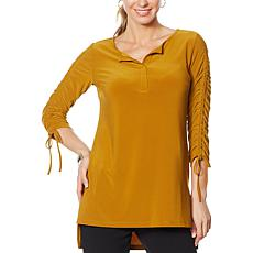 Nina Leonard Miracle Matte Jersey Tunic with Ruched Sleeves