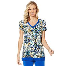 Nina Leonard Printed Miracle Matte Tunic with Solid Trim