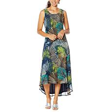 Nina Leonard Sleeveless Printed Power Mesh Dress