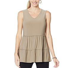 Nina Leonard Sleeveless V-Neck Tiered Tunic