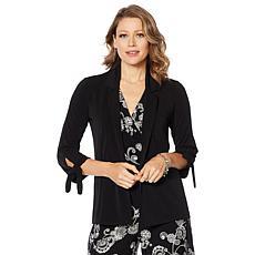 Nina Leonard Stretch Crepe Tie-Sleeve Cardigan