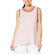 Nina Leonard Striped Hi-Low Sleeveless Tunic