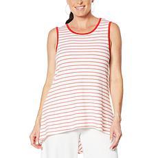 Nina Leonard Striped Hi-Low Sleeveless Tunic