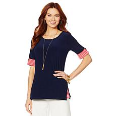 Nina Leonard Tunic with Striped Cuff