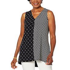 Nina Leonard Twin Print Sleeveless Tunic