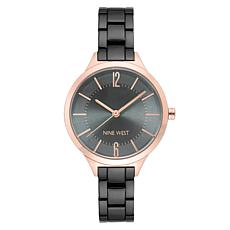 Nine West Women's Gunmetaltone and Rosetone Watch