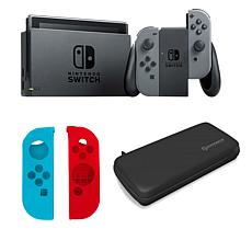 Nintendo Gray Switch Bundle with Travel Case and Silicone Sleeves
