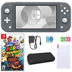 Nintendo Switch Lite GRY w/Super Mario 3D World + Bowser's Fury & Accs