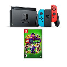"Nintendo Switch Neon with ""LEGO Super Villains"" and Accessory Bundle"