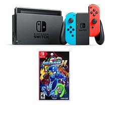 "Nintendo Switch Neon with ""Mega Man 11"" Game and Accessory Bundle"